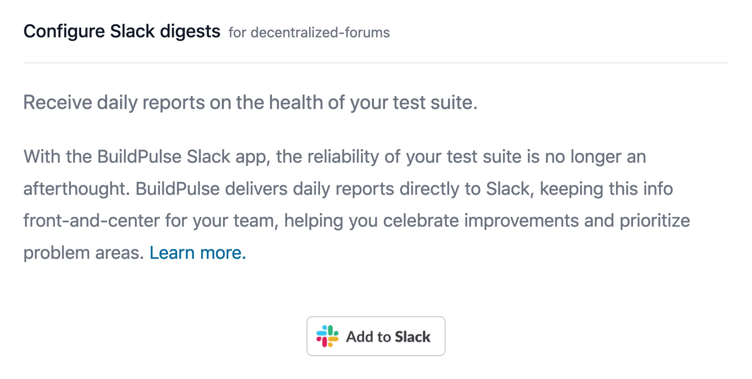 'Add to Slack' button in BuildPulse